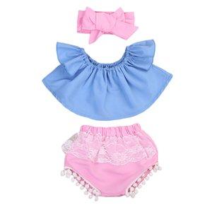 Baby Girls Top Camiseta de manga corta Pantalones cortos Bandas para la cabeza 3PCS Traje de ropa Ropa de niña recién nacida Set Off Shoulder Y18120801