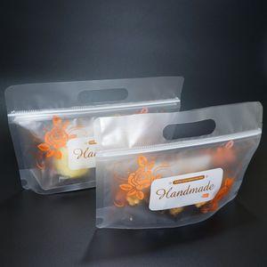 Spedizione gratuita Stand Up opaca trasparente Zip Pouch 100pcs Handcraft Carry Bag Fiore Stampato libera glassata Alimenti / Semi di melone imballaggio Doypack