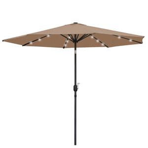 10FT Deluxe Solar 24 LED Lights Patio Umbrella W  Tilt Adjustment - Tan
