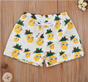 Baby Beach Pineapple with Glass Print Swimming Trunks Girl Boy Casual Swimwear Pants Kids Summer Swimming Clothes ZHT 343