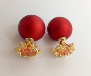 Copper zircon snowflake earrings double-sided Korean red ball frosted ice earrings Report This product supports seven days without reason to