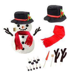 16PCS DIY Snowman Making Decorating Dressing Kit Winter Party Kids Toys Christmas Holiday Decoration GiftMM