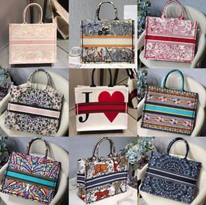 الأزياء عالية الجودة والتطريز كلاسيكي ملون الزهور مصمم حقائب اليد متعددة الألوان العلامة التجارية الشهيرة نمط خياطة أكياس التسوق الأزياء