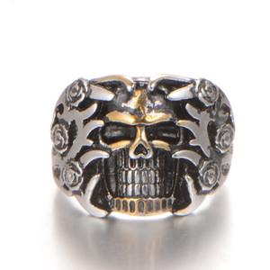Nova Personalidade Retro Crânio Duplo Anel de Cor de Aço Inoxidável 316L Mens Cool Ring Moda Masculina de Jóias Por Atacado e Varejo