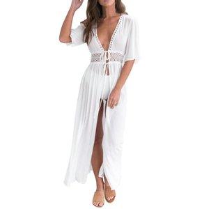 Sexy Bikini Cover Up Women Beach Dress 2020 Swimwear Chiffon Plus Size Bathing Suit Maxi Dress Bandage Kimono Cardigan #N