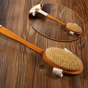 Doğal Kıl Banyo Fırçası Uzun Kol Ahşap Kıllar Yumuşak Saç Rub Geri Duş Fırça Azgın Masaj Brush kaldır