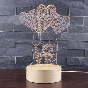 Lampe LED Lampe USB Night 3D Valentine Bois Bas Love Light Décoration Saint Valentin Décor de mariage
