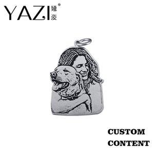 Yazi Creative Photo Gravierte Halskette Tier oder eine Person Silhouette Gewohnheit Anhänger Gold Farbe Kupfer gravierte Schmucksache-Gedächtnis-Geschenk