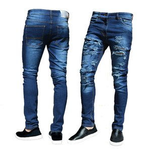 CANIS manera de los hombres de moda los pantalones vaqueros flacos del motorista destruido pantalones desgastados de Slim Fit Denim Pantalones rasgados Nuevo diseño suave