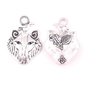 Silver Wolf Antique avec Raven Pendentif Mythologie Amulette Totem animal Viking Wicca Accessoires Bijoux