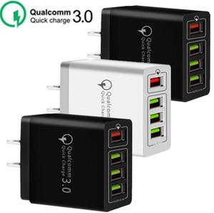 30W 4 portas USB QC3.0 Rápido carregador de parede QC 3.0 carregamento rápido carregador de parede Poder Adpater Para Samsung HTC LG