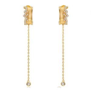 Lamoon 925 stelle d'argento orecchini di goccia per le donne Ear Vintage Linea reale placcato oro Fine Jewelry LMEI089 CX200628