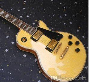 Nouvelle arrivée sur mesure Jaune guitare électrique en gros guitare de haute qualité Livraison gratuite