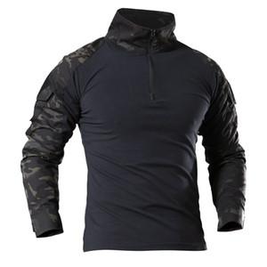 Kamuflaj Uzun Kollu Kurbağa Takım Elbise Erkekler Tops Taktik Aracı Kargo t Gömlek Ordu Askeri Savaş Tee