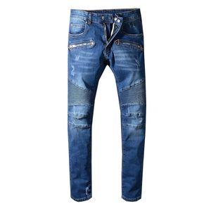 Para hombre apenada Ripped Jeans Tamaño del motorista de Estados Unidos 29 ~ 42 ajuste delgado de la motocicleta de la cadera del motorista dril de algodón para los hombres de moda los pantalones vaqueros de los hombres Hop de la buena calidad