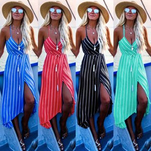 New products in spring and summer Off Shoulder Wrap Summer Boho Sexy suspenders V-neck striped bohemian dress ladies