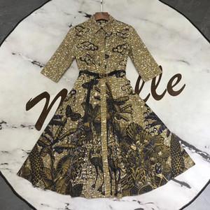 Diseñador de 2020 Marrón impresión sólida de los marcos del vestido de las mujeres de Milán Pista solapa del cuello bordado Cuentas mangas largas vacaciones vestido largo 031404