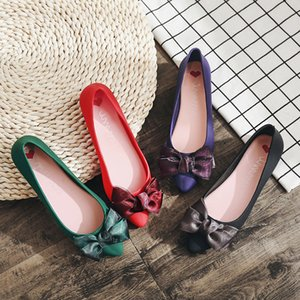 pointed toe ribbon bow-tied flower loafers plastic waterproof jelly shoes solid soft soled anti-skid flats moccasins women shoes