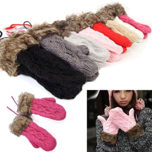 Drucken Neue 9 Farben-Mädchen-Neuheit Winterhandschuhe für Frauen Knit Warm Fitness-Handschuhe Hedgehog Beheizte Darmzotte Wrist Fäustlinge