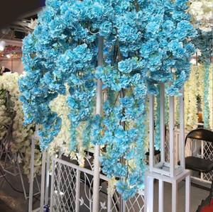 2020 Diy Silk künstliche Kirschblüten Ast Blume Silk Wisteria Reben für Heim Hochzeit Dekoration Blumen-Blumenstrauß 5pcs