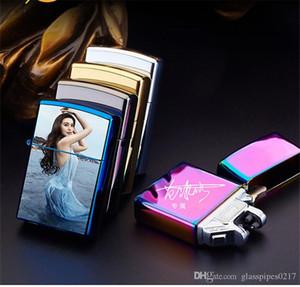 OEM de la ayuda Doble Arco encendedor a prueba de viento electrónico USB Display Batería cigarrillo del encendedor de fumadores encendedor eléctrico con la caja libre de DHL