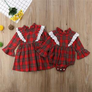Pudcoco Bebés Meninas roupas American Apparel Camiseta infantil Lace Red Plaid Romper vestido de algodão da criança Spring Party Dress Outfits