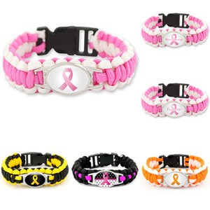 New Pink Ribbon Charm bracelets breast cancer Fighter awareness Outdoor Wristbands Bangle For Fashion donna uomo s Gioielli sportivi