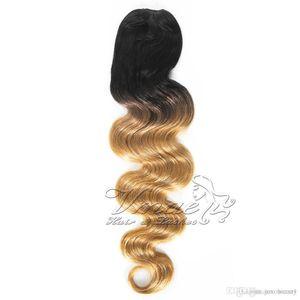 VMAE Brésil 1B / 27 Two Tone Strawberry Blonde Couleur Ombre 120g longue vague de corps clip Drawstring Human Hair Weave Ponytail Extensions