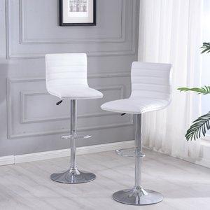 Set di idraulica girevole 2 regolabile in pelle Bar Sgabelli Dining Chair in bianco