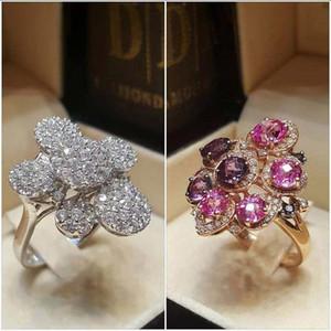 Brauen große Blumen-Ring-Weiß-Rosa-Farben-Voll Zirkonia-Partei-Ring für Frau Charme eleganten Hochzeit Finger Band Schmuck-Geschenk