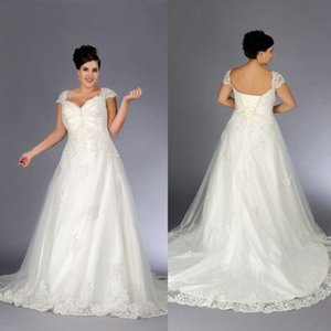 Vintage A-Line Wedding Dresses 2020 V Neck Capped Sleeves Lace Appliques Bridal Gowns Lace-up Sweep Train Long Wedding Dress