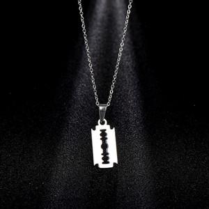 Hip Hop Stainless Steel Blade Pendant Cool Razor Men Necklace Pendants Arts Crafts & Gifts Home & Garden HA357