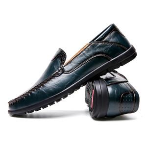 Los hombres de los zapatos ocasionales de los holgazanes de las zapatillas de deporte del cuero genuino de Slip On Driving suave de los zapatos cómodos zapatos de los holgazanes de negocios Tenis Masculino