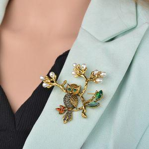 Vintage Pearl листьев Сова Брошь корсаж шарф Клип Кристалл Попугаи Брошка нагрудного Broches украшение для женщин B505