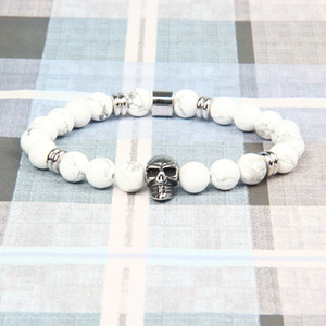 wholesale New Stainless Steel Skull Bracelets with 8mm Natural Howite & Matte Onyx Stone Beads Couples Jewelry