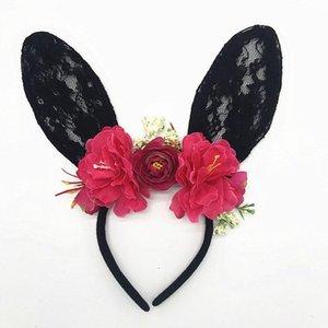 Les femmes Fille Bandeaux dentelle oreilles Halloween Party Chapeaux Accessoires de cheveux grande oreille dentelle cerceau tête de serre-tête