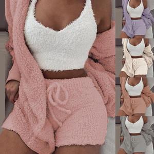 Plush Treino Mulheres 3 Pieces Set Moletons Sweatpants Sweatsuit Jacket Top Curto Shorts terno dos esportes Suit Jogging Femme