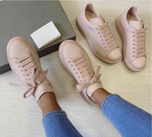 2019 formateurs Plate-forme des femmes 100% cuir de chèvre en cuir surdimensionné Chaussures de sport pour hommes et femmes lacées Formateurs Chaussures de mariage avec New Box