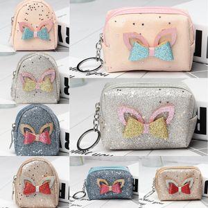 Coreano Key cadeia carteira borboleta walletCreative PU arco saco de fone de ouvido bolsa da moeda moda moda moeda remendo estrela carteira chaveiro
