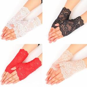 Mulher Lace Semi Dedo Luvas De Noiva Da Dama de honra luvas Ao Ar Livre Condução Anti UV Rendas Sólidas Cor Sólida