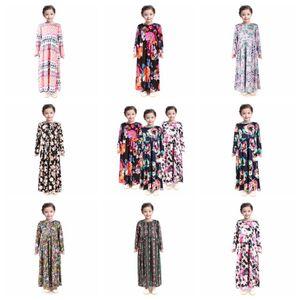 Fashion Girl Floral Long Dress Bohemian long sleeve Kids Princess Dress Baby Clothing Children Flower Print Beach Dress RRA3118