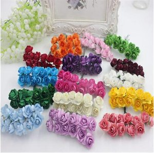 144PCS   lot 1.5 cm artificial small paper rose handmade party supplies wedding car decoration Artificial flower