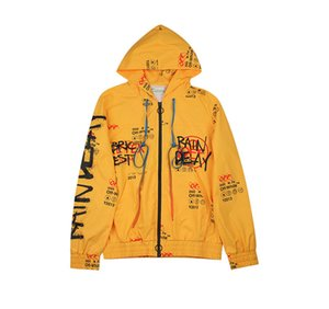 High Quality Europe And America Popular Brand Ow Yellow Graffiti Mesh Coat Jacket Suits