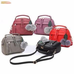 Pu Leather Handbag For Women Girl Plain Fashion Messenger Bags With Ball Toy Bolsa Female Shoulder Bags Ladies Party Handbags