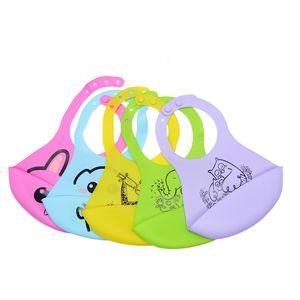 Baby Silicone Bibs BPA Free Waterproof And Leakproof Baby Feeding Saliva Towel Newborn Cartoon Aprons Adjustable Burp Cloths