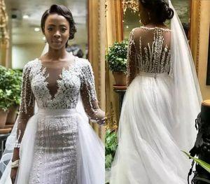 Русалка нигерийские длинные рукава свадебные платья 2019 южноафриканские черные девушки сад страны церковь невесты свадебные платья на заказ плюс размер