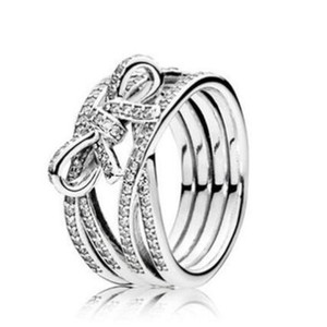 Original 925 Sterling Silver Ring Delicate Sentiments Ribbon Twisting Rings For Women Wedding Party Gift Fashion Jewelry