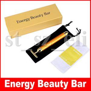 24K Energy Beauty Bar Golden Derma Roller Energy الوجه مدلك العناية بالجمال الاهتزاز تدليك الوجه الكهربائية