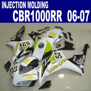 Injection mould high quality fairing kit for HONDA CBR1000RR 06 07 CBR1000 RR 2006 2007 green white HANNspree fairings VV40