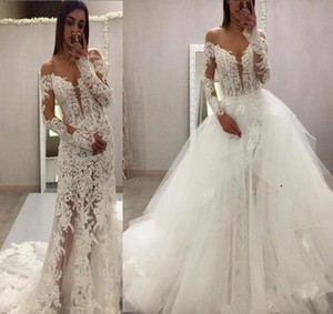 Glamorous 2019 sheer Lace two pieces Wedding Dresses mermaid Long Sleeve Sweep Train with detachable train custom made Bridal Party Gowns